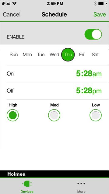 Holmes WeMo set schedule